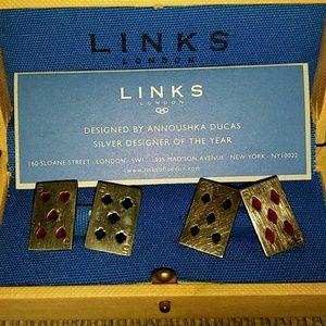 Silver poker card cufflinks